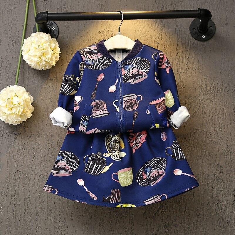 2-7Y new Children Clothing Girls Set  cartoon printing Girls Clothing autumn Winter Sport Suits Toddler 2 PCS ( Jacket + Skirt )<br><br>Aliexpress