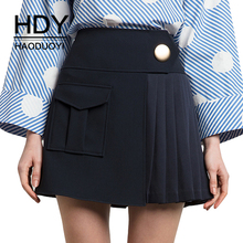 Buy HDY Haoduoyi Women Mini Skirts Pleated Irregular Pocket High Waist Navy Button Skirt A-line Casual Short 2017 Autumn Skirts for $14.81 in AliExpress store
