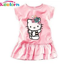 Keelorn 2017 NEW free shipping Retail, 2017 Kids girls clothes cute kitty Dress  pink  Clothes, free shipping