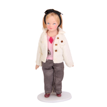 Fashionable Dollhouse Miniature Porcelain Dolls Brown Hair Little Girl in White Coat Christmas Gift Toys for Kid Children Girl