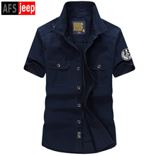 New Casual Mens Military Shirts Short Sleeve Brand Clothing AFS JEEP Slim Army Dress Shirt Men S-4XL Plus Size Camisa Masculina(China)