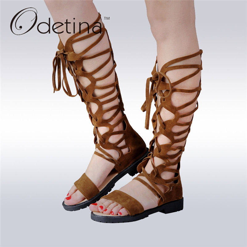 Odetina 2017 New Fashion Flat Knee High Gladiator Sandals for Women Sexy Summer Cross Tied Casual Shoes Lace Up Big Size 34-43<br>