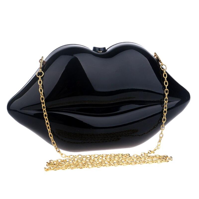 NEW  lip design red/black acrylic evening bags fashion handbags summer  shoulder messenger bag for evening bag<br><br>Aliexpress