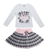 2017 Spring Fashion Omika Boutique Outfits Sets 2 Pcs Kids Girl Long Sleeve Cotton Shirts Tops + Plaid Tutu Skirts With Bow Sets(China)