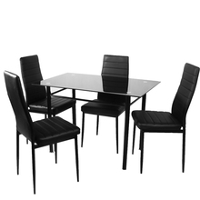 HOT SALE 4pcs/lot Faux Leather Dining Chair Black High Back Chrome Leg Dining Room Chair Made in China