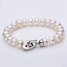 charming and lovely Natural Freshwater white color Customized length pearl Bracelets fine jewelry with heart clasp for girl