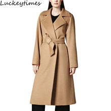 Europe 2017 New Autumn Winter Camel Long  Women Overcoat Ladies Elegant Slim Turn Down Collar Covered Button Belt Coat