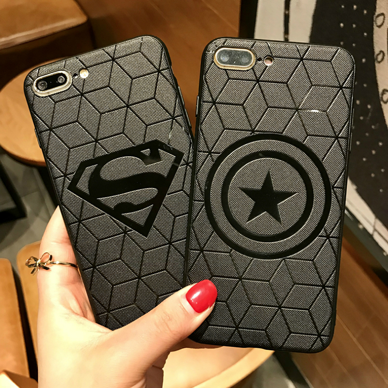 Male Marvel Avengers Matte Silicone Case for iPhone X 6s 7 7Plus 8 Plus Cover for iPhone XR X XS Max Superman Siperman Cases(China)