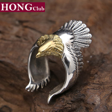 2017 Golden Eagle domineering personality ring 100% 925 sterling silver for men or women wedding ring fashion fine jewelry GR15(China)