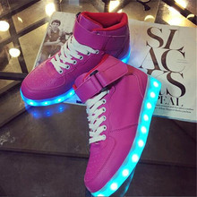 led high top shoes woman ligh up LED Shoes led casual New shoes woman flat with neon basket Light Up shoes lace hot fashion