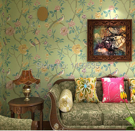 Modern new Chinese American country pastoral big bird wallpaper living room bedroom TV backdrop classical wallpaper<br><br>Aliexpress