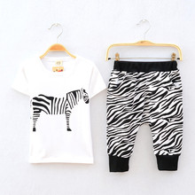V-TREE NEW summer 2015 baby boy clothing set zebra kids clothes children boys clothing sport suit boys