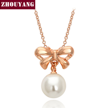 Top Quality Bowknot Imitation Pearl Rose Gold Color Pendant Necklace Jewelry Austrian Crystal Wholesale ZYN204 ZYN306