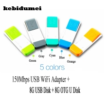 kebidumei 150Mbps 3 IN 1 Mini Wireless WIFI USB Flash Drive + 8G USB Disk + 8G OTG U Disk WiFi Hotspot with Portable Size(China)