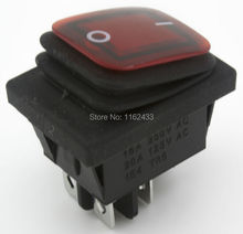 KCD4-2X1NR perforate 29 x 22 mm 4 pin (ON) - OFF push reset waterproof boat rocker switch power switch with 220V light