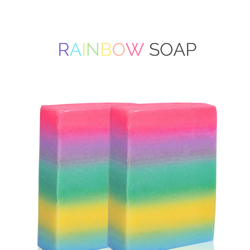 Rainbow Bar Soap Thailand Mixed Color Soap Skin Whitening Lighten Dark Spots Herbal Natural Soap Source Fruit Source Basis(China (Mainland))