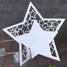 50Pcs White Laser Cut Star Table Name Place Card Wine Glass Wedding Invitation For Party Wedding Favors Christmas Decoration(China)