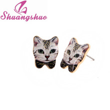 2016 Hot Sale New Fashion Cute Animal Earrings Lovely Black Bow-Knot Cat Earrings for Women Party Gift OED022