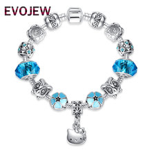 EVOJEW High Quality Blue Crystal Cute Hello Kitty Cat Silver Color Bracelet Bracelets & Bangle for Women Jewelry Christmas Gift