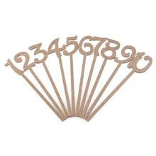 10pcs Wedding Decor MDF Board Seat Cards Place Holder Table Number Figure Card 1-10 Party Supply (Base Not Included)(China)