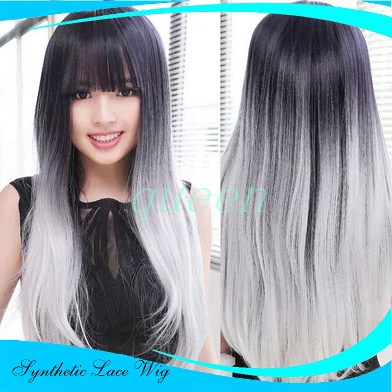 Long Hot Ombre Gray Rihanna Style Synthetic Lace Front Wig Glueless Ombre Tone Color Black And Grey Heat Resistant Hair Wig<br><br>Aliexpress