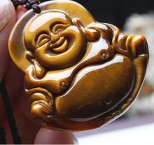 Hand Made Natural Tiger eye stone Pendant Gold Maitreya Buddha Pendants Necklace For Women Men pendants Jadee Jewelry