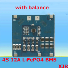 4S 12A 12.8V LiFePO4 BMS/PCM/PCB battery protection circuit board for 4 Packs 18650 Battery Cell w/balance(China)