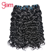 Peruvian Water Wave 100% Human Hair Weave Bundles Extension Natural Color 1b Non-remy Hair Gem Beauty Supply Hair Products