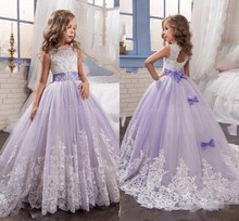2017 Purple Christmas Flower Girl Dresses Kids Girls Pageant Dresses Floor Length First Communion Dressy dresses for girls Bows