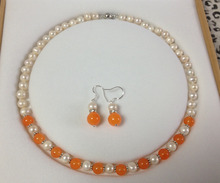 Wholesale price 16new ^^^^Charming!White Akoya Cultured Pearl/Orange stone necklace earrings set