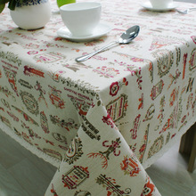 Christmas Table Cloth Cotton Linen Lace Edge Cartoon Printed Tablecloth Rectangular Home Party Festival Decorative Table Cover