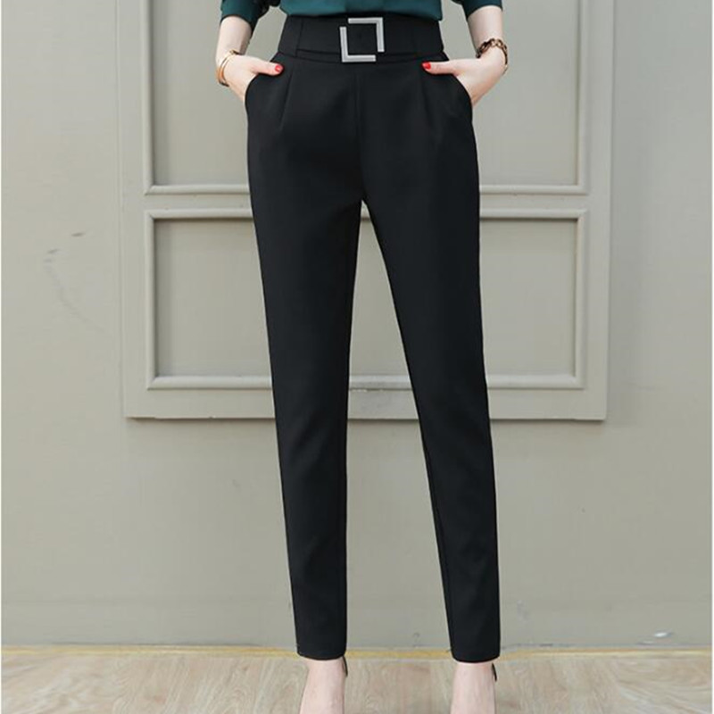 Elegant Feet Pant for Women New Arrival High Waist Slim Autumn Winter Trouser 2019 Front Pleated Loose Classic Black OL Pant XXL
