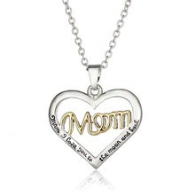 2017 Mother's Day Love Gift Mom Letter Heart Rhinestone Pendent Necklace Personalized Jewelry for Mom