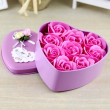1 pcs11.5*12*5CM 9 Immortal Rose Heart Iron Box Soap Flower Girlfriend Birthday Gift