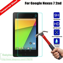 "2 X GLASS 9H Real Tempered Glass For LG GOOGLE NEXUS 7 II 2nd 7.0"" 2013 tablet Screen Protector Protective Film"