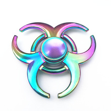 Rainbow Colorful OX Horns Zinc Fidget Spinner Hand Spinner For Better Focus Reduce Autism ADHD Stress Toys With Gift Box(China)
