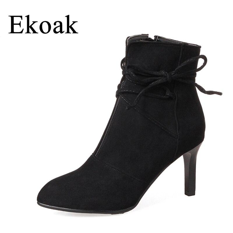 Ekoak New 2017 Autumn Flock Boots Women Fashion Zip Ankle Boots For Women Ladies Boots High Heels Shoes Woman<br>