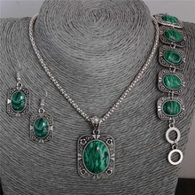 Atreus Jewelry Set 1 Set Vintage Green Fresh Pendant Necklace Earrings Bracelet For Woman(China)