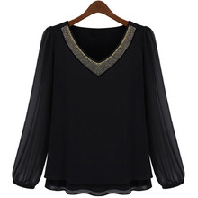 XL-5XL Plus Size Women Black Chiffon Blouse V neck Long Sleeve Casual Blouses and Shirts Ladies Tops Blusas Female