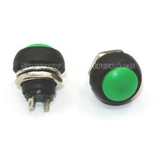 100pcs 12mm 250V Green Mini Round Switch Waterproof momentary Push button Switch(China)