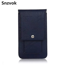 Snzvok Universal Sport Outdoor Belt Buckle Clip Holster Flip Leather Phone Bag For Samsung note 5 6 7 J510 For Huawei mate 7 8