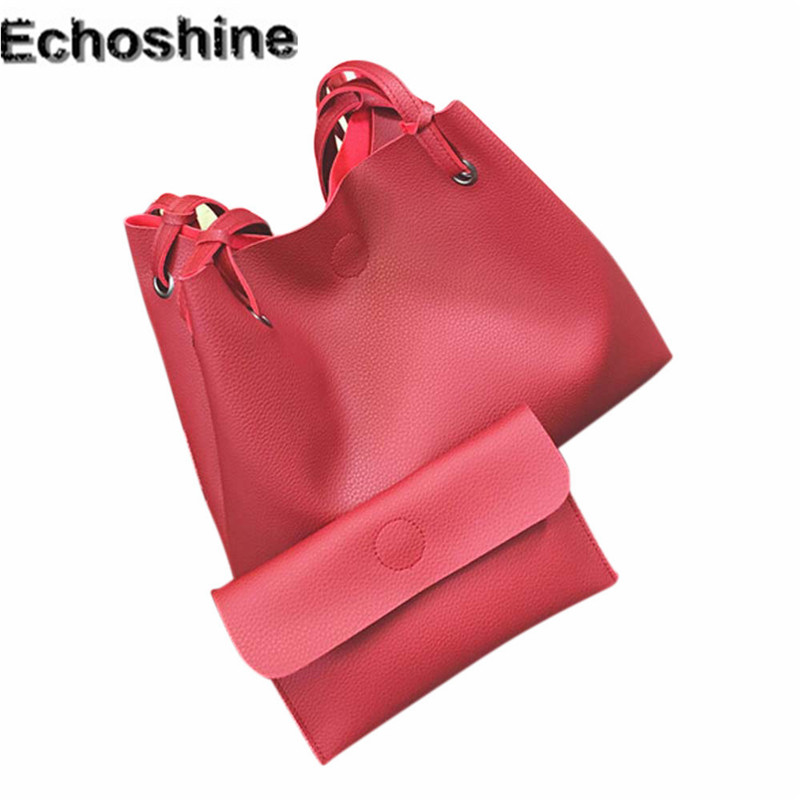 2017 hot sale Fashion Women Leather Litchi Stria Handbag Single Shoulder Bag+Clutch Bag gift wholesale  feminine messenger bag <br><br>Aliexpress