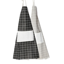 Women Men Cooking Baking Apron Home Kitchen Commercial Restaurant Checks Cotton Chefs Aprons With Big Pocket for Phone Recipe(China)