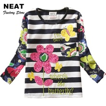 Retail Neat Kid t-shirt Baby Girl Roupa Infantil Flower T Shirt Children's t-shirts for Girls Cartoon Clothes Nova f4466 Mix(China)
