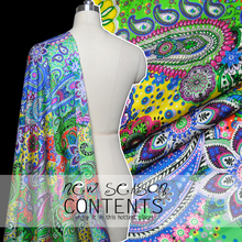 LEO&LIN Paisley multi-colored silk satin elastic micro spring and summer dress fabric (1 meter)