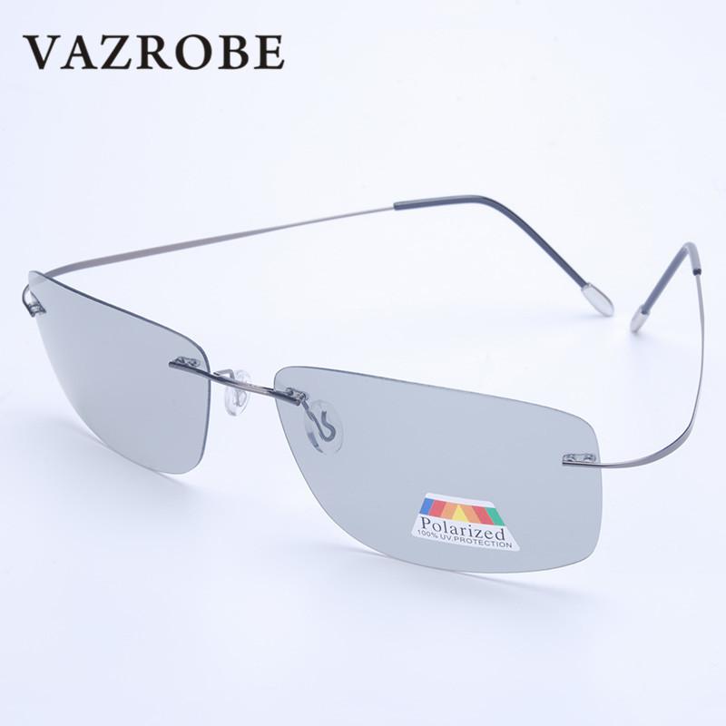 Vazrobe (5s Change Color) Photochromic Sunglasses Men Women Titanium polarized Sun Glasses Chameleon Rimless Anti-glare Driving 7