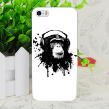 C3573 Earphone Monkey Transparent Hard Thin Case Skin Cover For Apple IPhone 4 4S 4G 5 5G 5S SE 5C 6 6S Plus