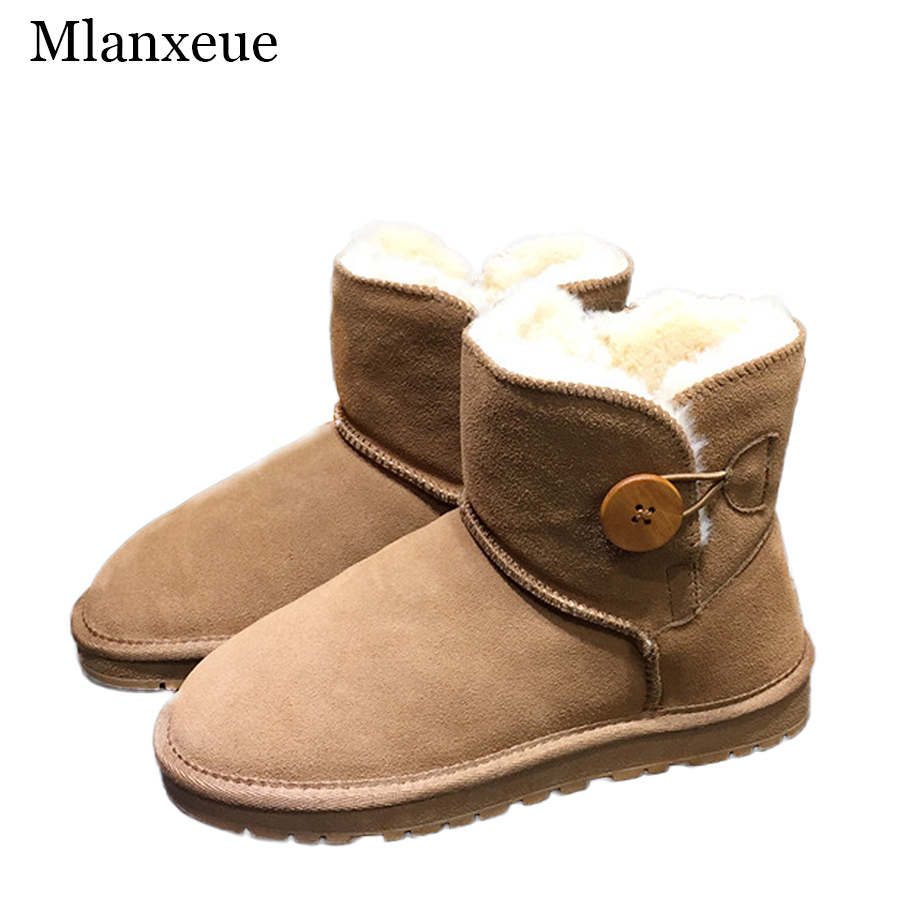 MLanxeue Luxury Genuine Leather Plush Inside Boots Women Warm Winter Female Short Tube Snow Shoes Casual Boots<br>
