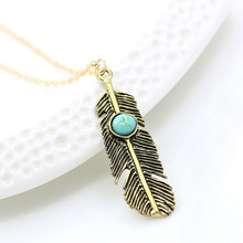 2016 Women's European And American Fashion Personality Charm Bohemian National Wind Turquoise Retro Leaves Necklace Wholesale