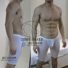 Men's Silky Smooth Long Leg Underwear Penis Pouch Boxer Leggings(China)